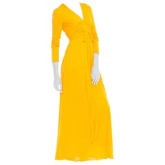 1970S Malcolm Starr Yellow Orange Rayon Jersey Long Sleeve Empire Waist Gown Wi