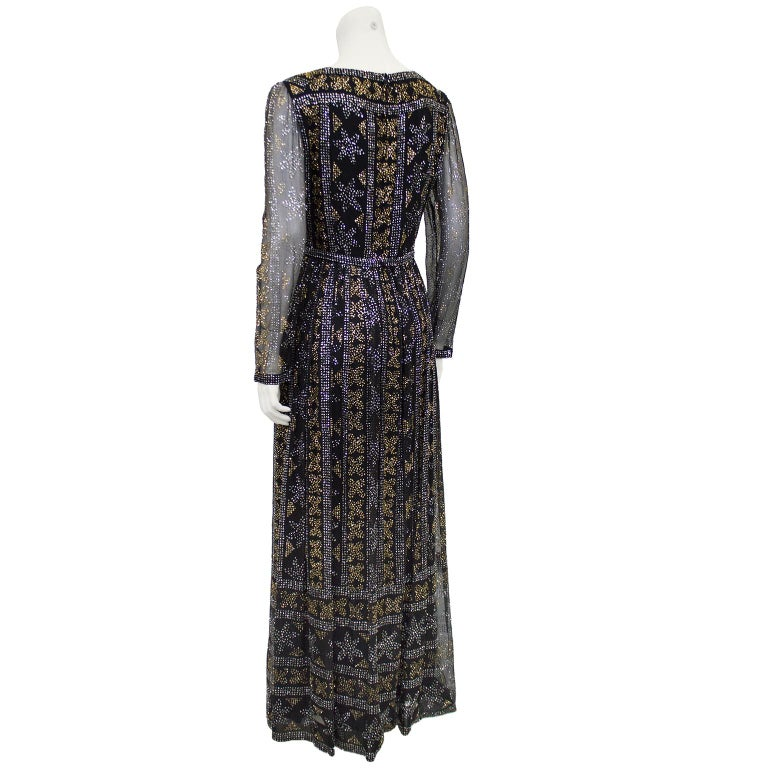 Black 1970's Malcom Starr Chiffon Gown with Silver and Gold Sparkles For Sale
