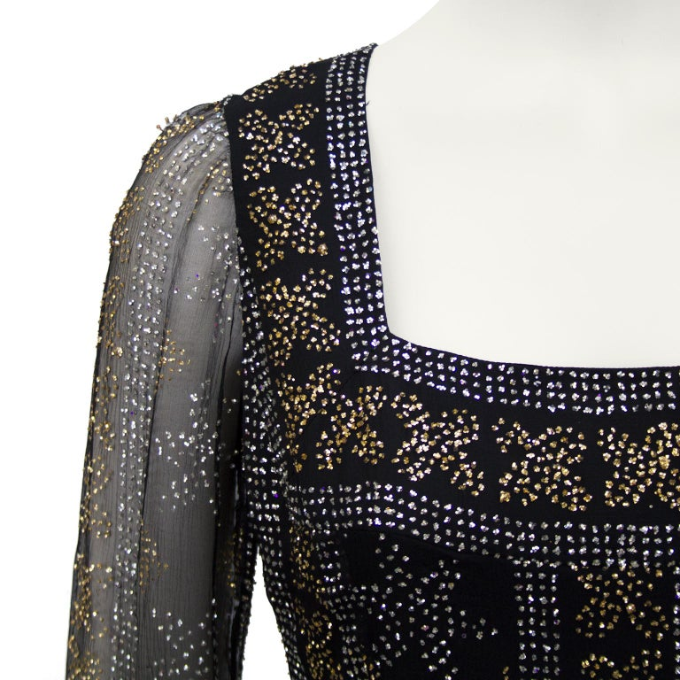 1970's Malcom Starr Chiffon Gown with Silver and Gold Sparkles In Good Condition For Sale In Toronto, Ontario