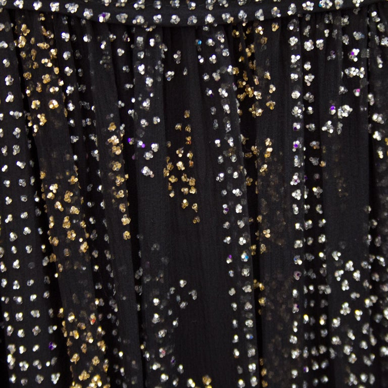 Women's or Men's 1970's Malcom Starr Chiffon Gown with Silver and Gold Sparkles For Sale