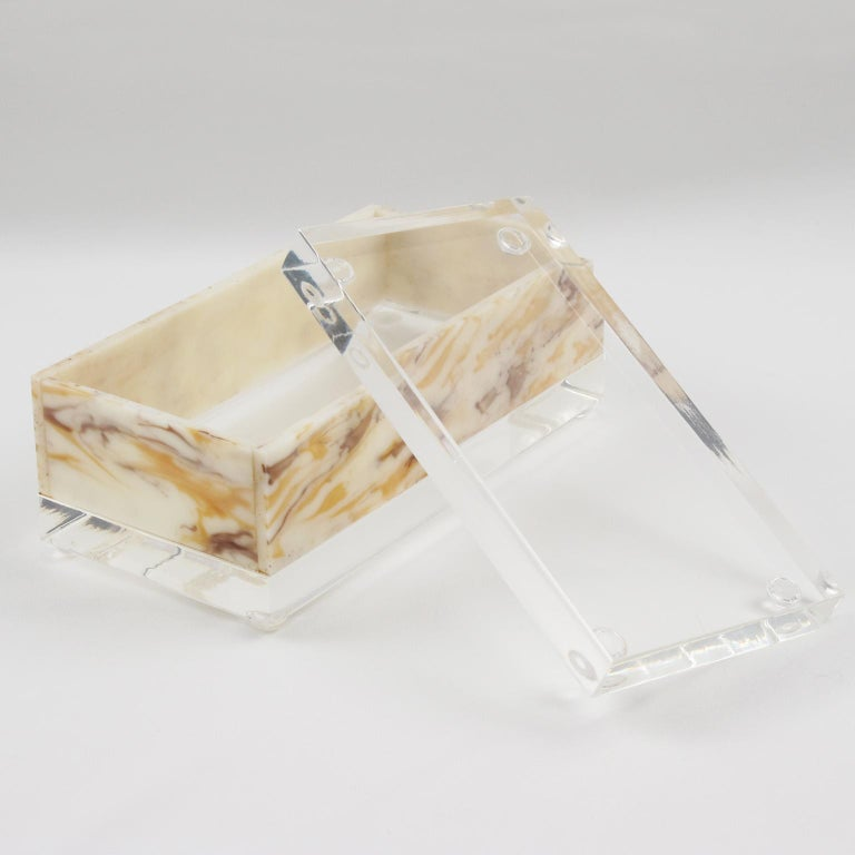 Mid-Century Modern 1970s Marble-Like Lucite Box For Sale
