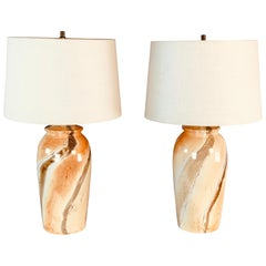 1970s Marble Style Ceramic Table Lamps, Pair