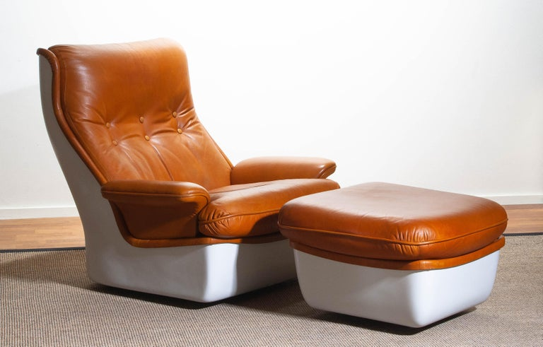 Awe Inspiring 1970S Marc Held Airborne Lounge Easy Chair And Ottoman In Cognac Leather Creativecarmelina Interior Chair Design Creativecarmelinacom