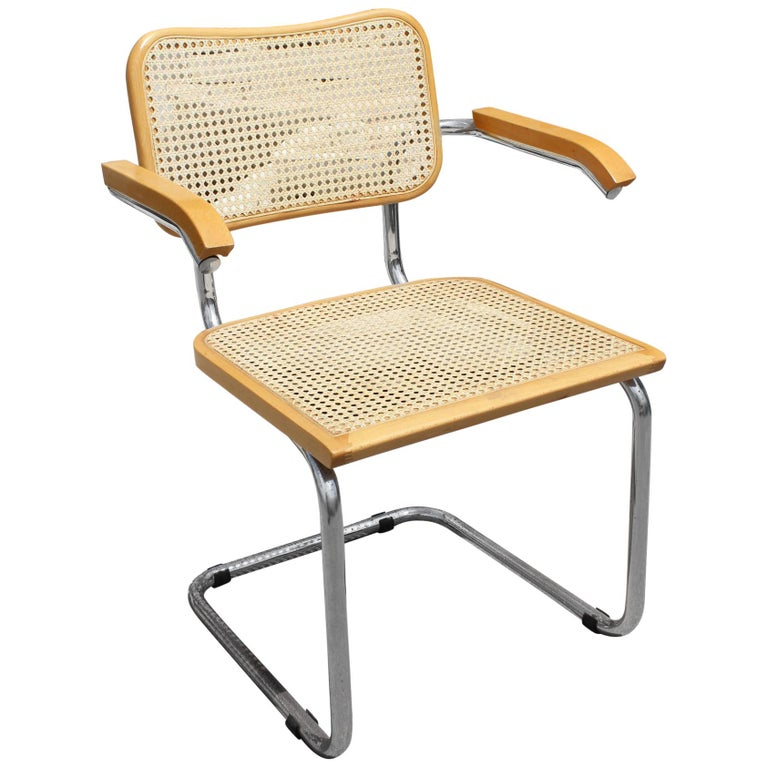 "1970s Marcel Breuer Cane and Chrome ""Cesca"" Chair For Sale"