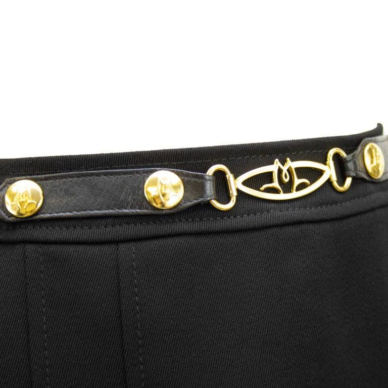 Women's 1970's Marelli Black Wool Gabardine Pleated Skirt For Sale
