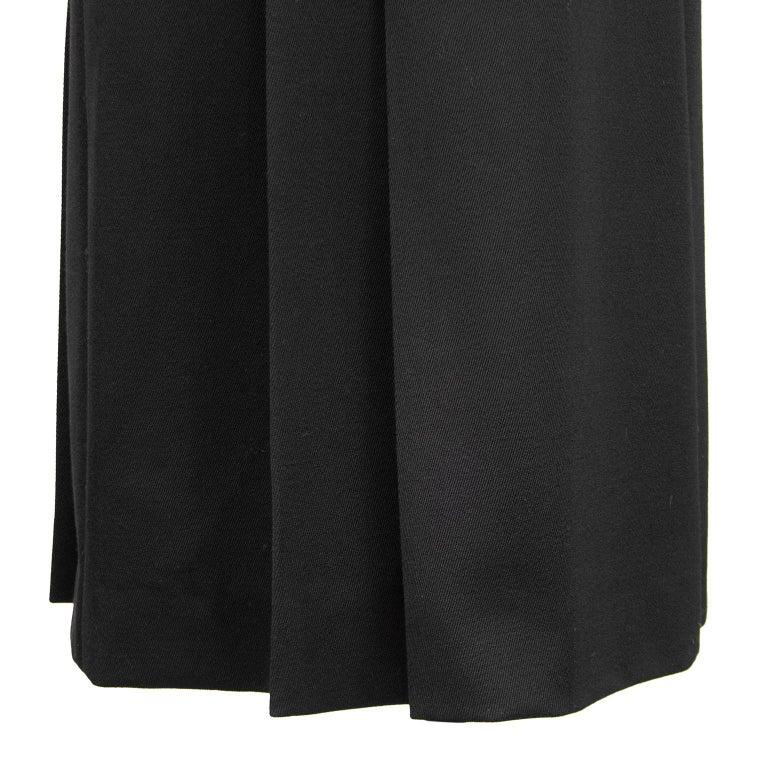 1970's Marelli Black Wool Gabardine Pleated Skirt For Sale 1