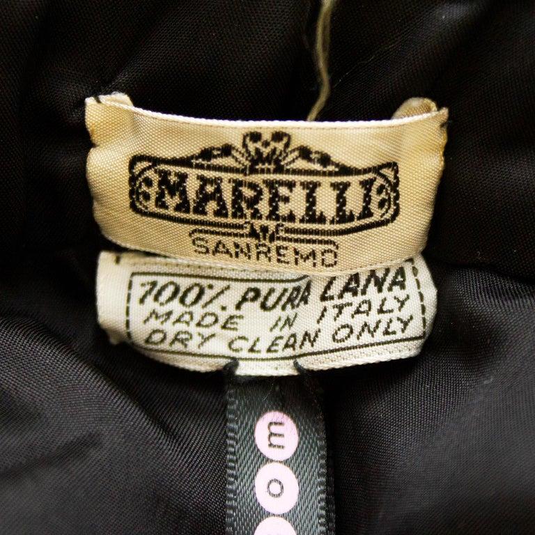1970's Marelli Black Wool Gabardine Pleated Skirt For Sale 2