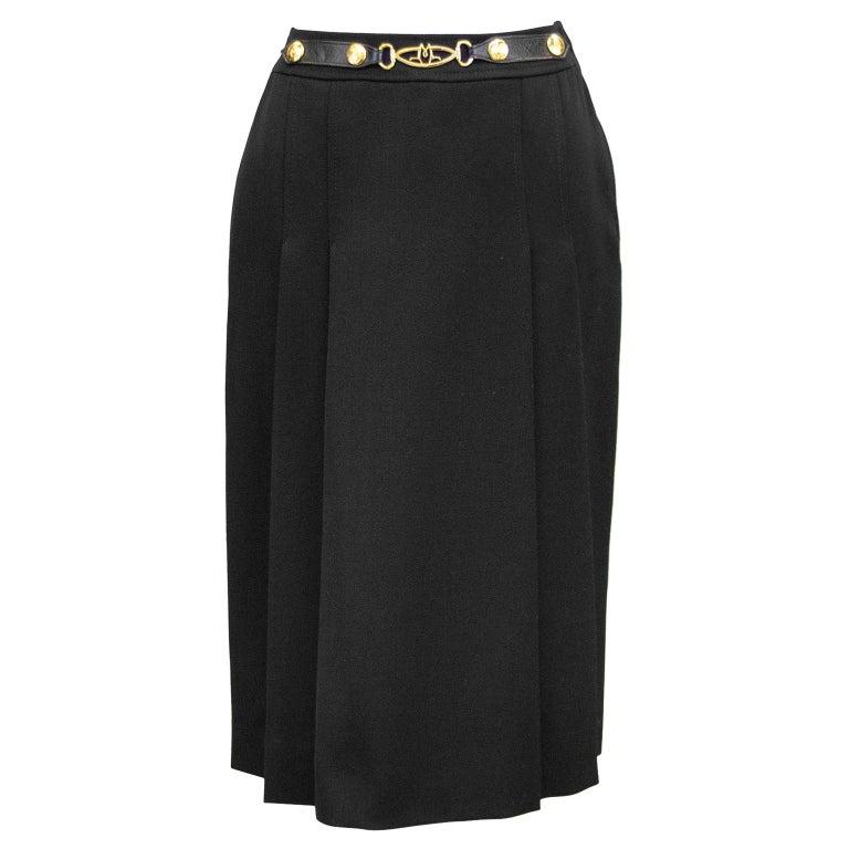 1970's Marelli Black Wool Gabardine Pleated Skirt For Sale