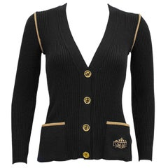 1970's Marelli Black Wool Ribbed Cardigan With Tan Accents
