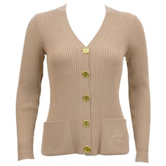 1970's Marelli Camel Colour Ribbed Knit Cardigan