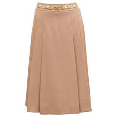 1970's Marelli Camel Pleated Wool Gabardine Skirt