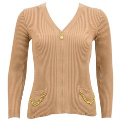 1970's Marelli Zip Front Tan Ribbed Cardigan With Gold Chain Details