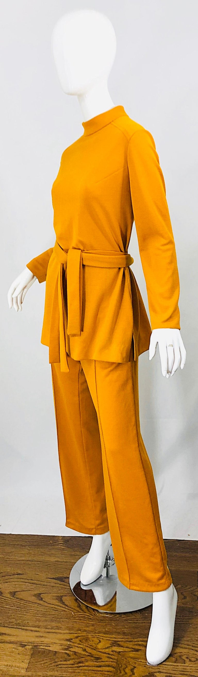 1970s Marigold Mustard Yellow Four Piece Vintage 70s Knit Shirt + Pants + Belt For Sale 6