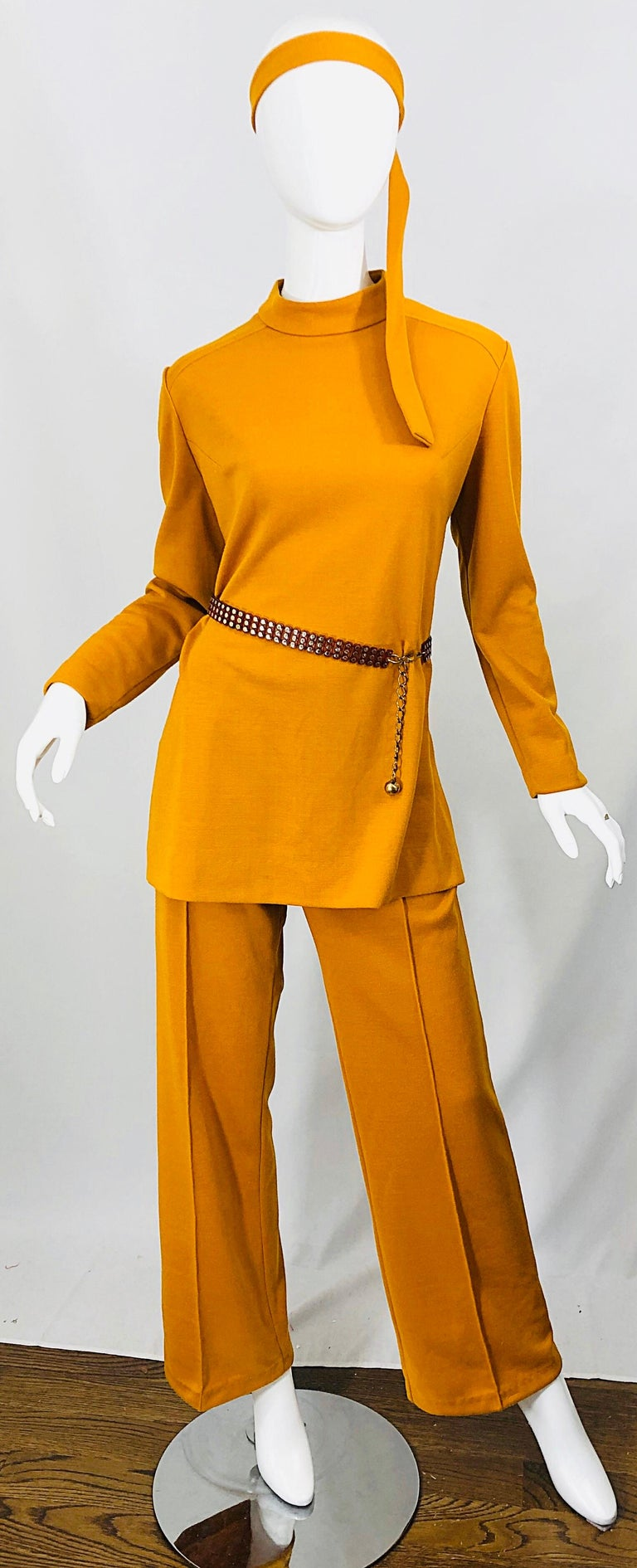 1970s Marigold Mustard Yellow Four Piece Vintage 70s Knit Shirt + Pants + Belt For Sale 7
