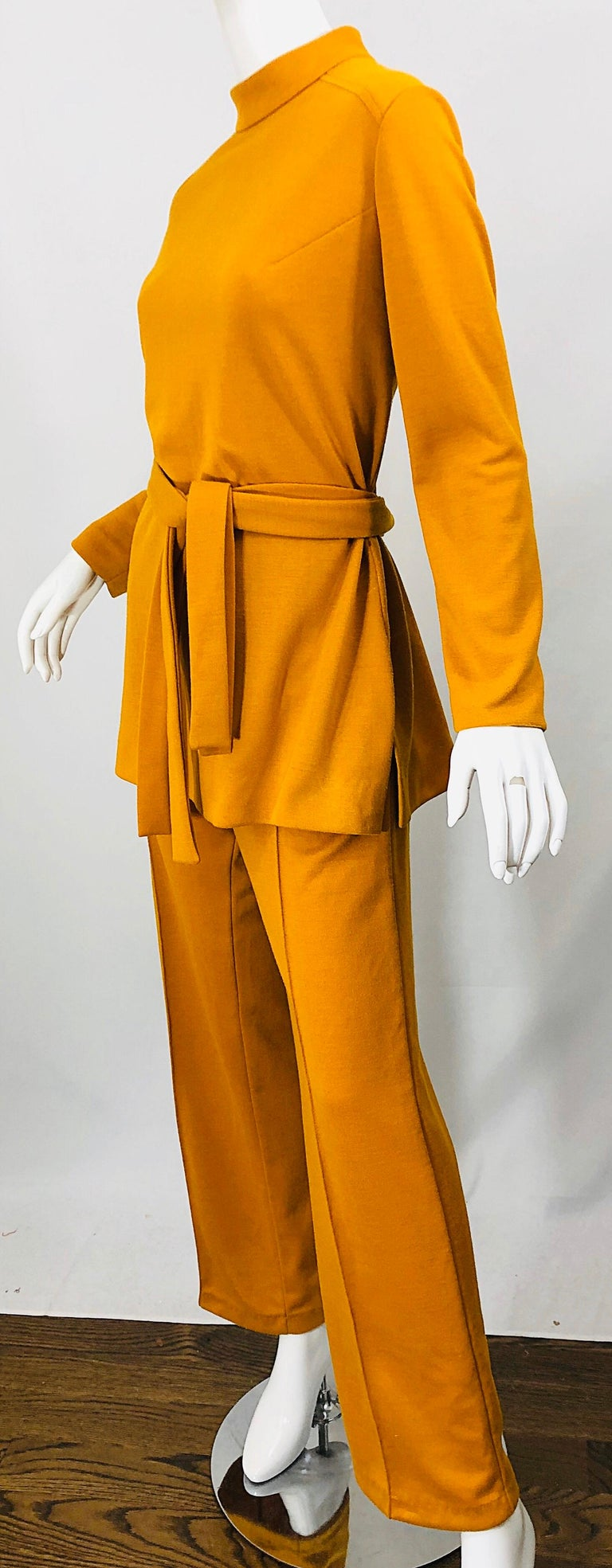 1970s Marigold Mustard Yellow Four Piece Vintage 70s Knit Shirt + Pants + Belt For Sale 9