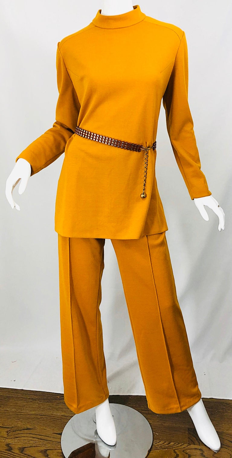 1970s Marigold Mustard Yellow Four Piece Vintage 70s Knit Shirt + Pants + Belt For Sale 10