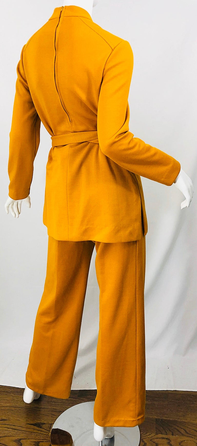 1970s Marigold Mustard Yellow Four Piece Vintage 70s Knit Shirt + Pants + Belt For Sale 11