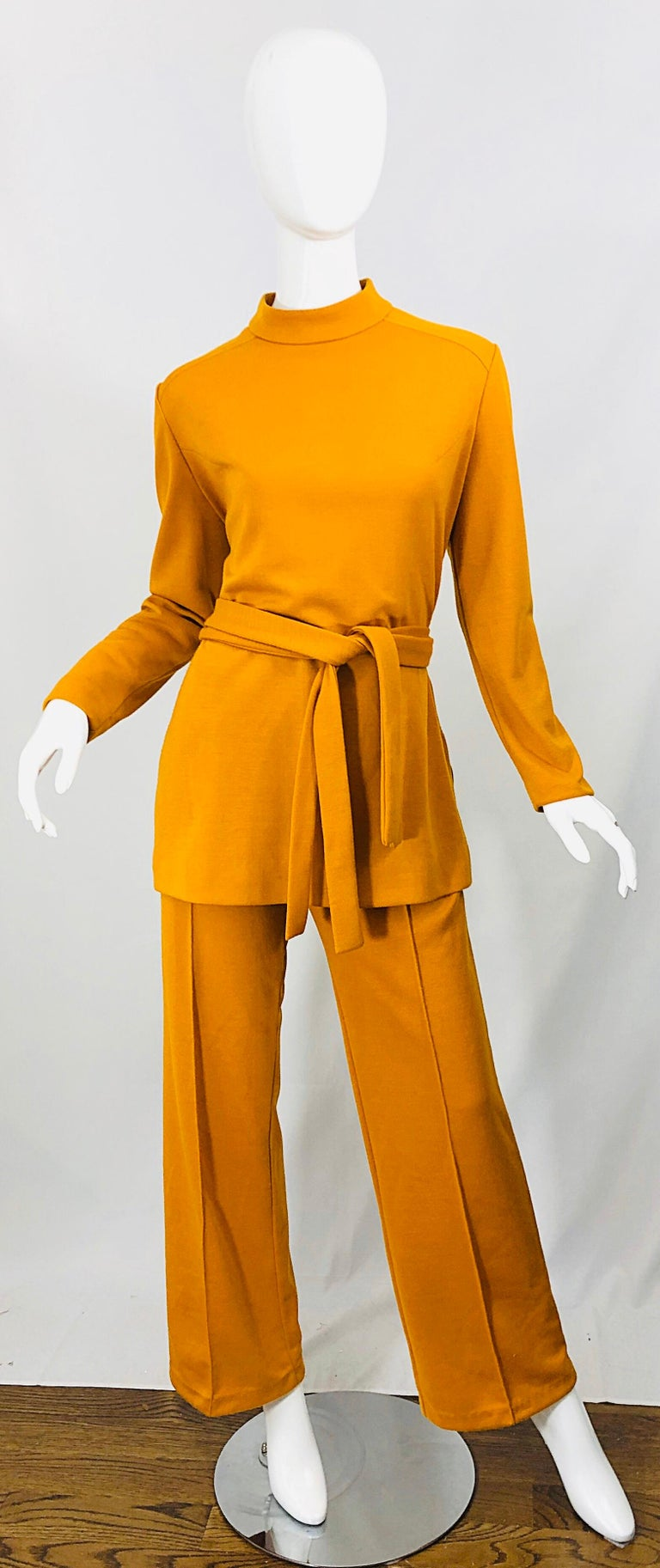 1970s Marigold Mustard Yellow Four Piece Vintage 70s Knit Shirt + Pants + Belt For Sale 12