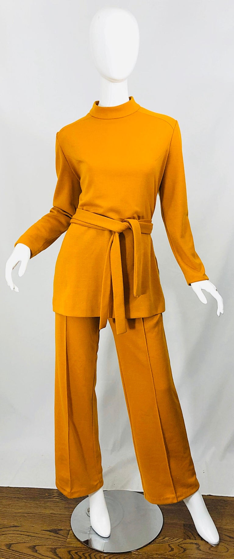 1970s Marigold Mustard Yellow Four Piece Vintage 70s Knit Shirt + Pants + Belt In Excellent Condition For Sale In Chicago, IL