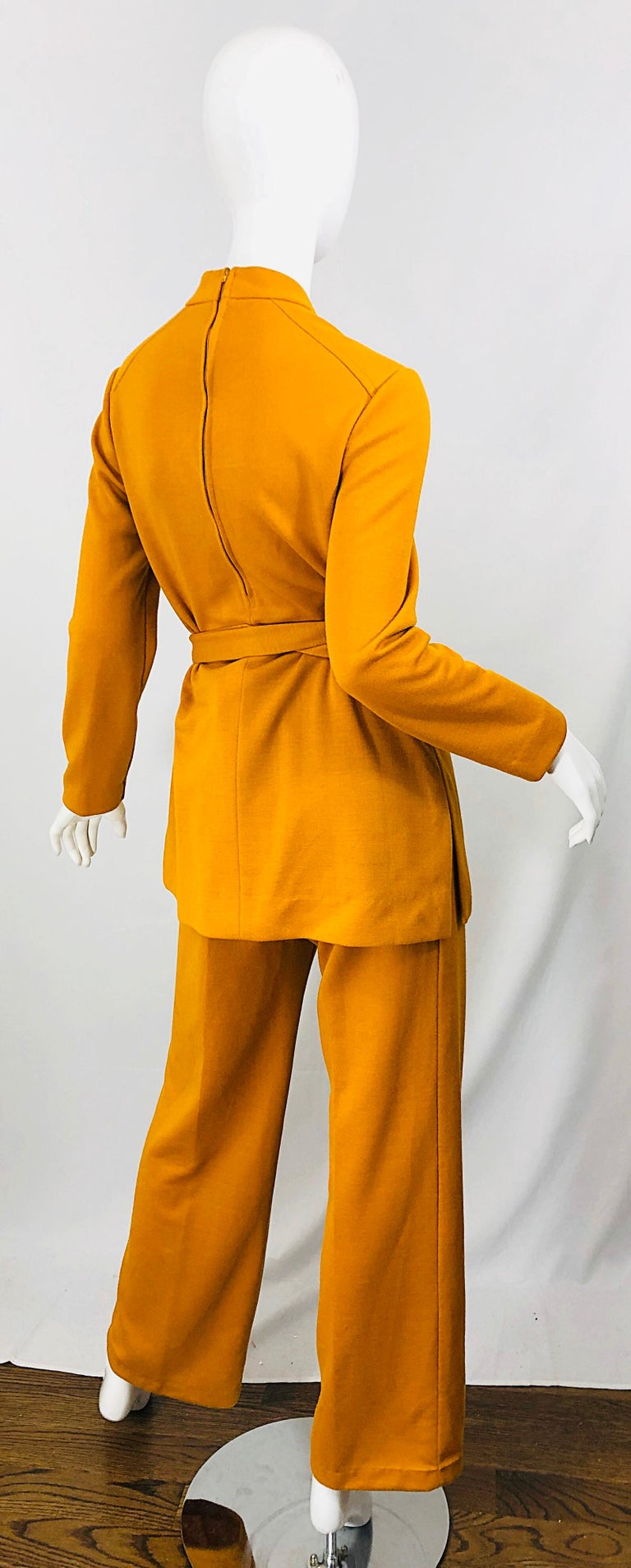 Women's 1970s Marigold Mustard Yellow Four Piece Vintage 70s Knit Shirt + Pants + Belt For Sale