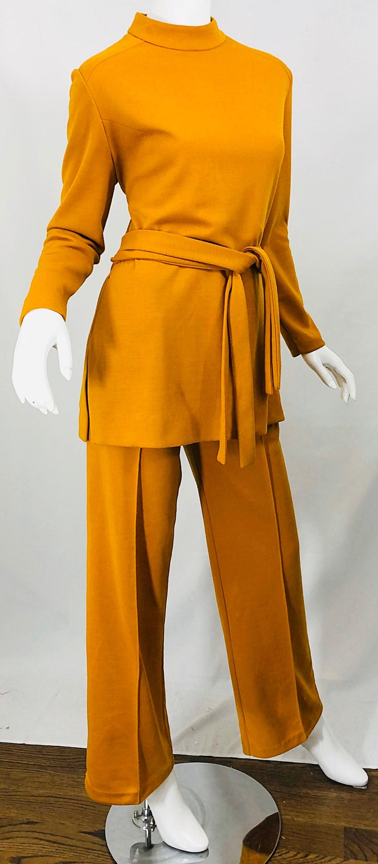 1970s Marigold Mustard Yellow Four Piece Vintage 70s Knit Shirt + Pants + Belt For Sale 1