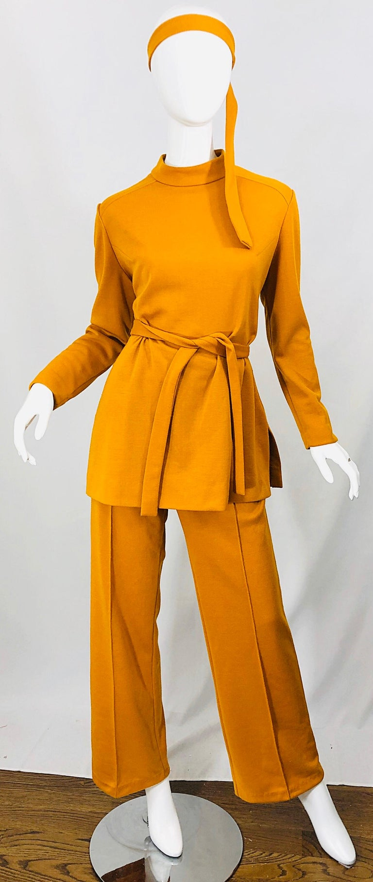 1970s Marigold Mustard Yellow Four Piece Vintage 70s Knit Shirt + Pants + Belt For Sale 2