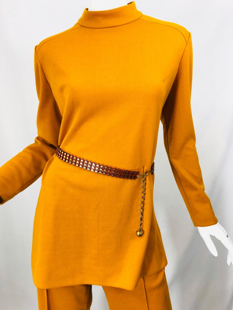 1970s Marigold Mustard Yellow Four Piece Vintage 70s Knit Shirt + Pants + Belt For Sale 3