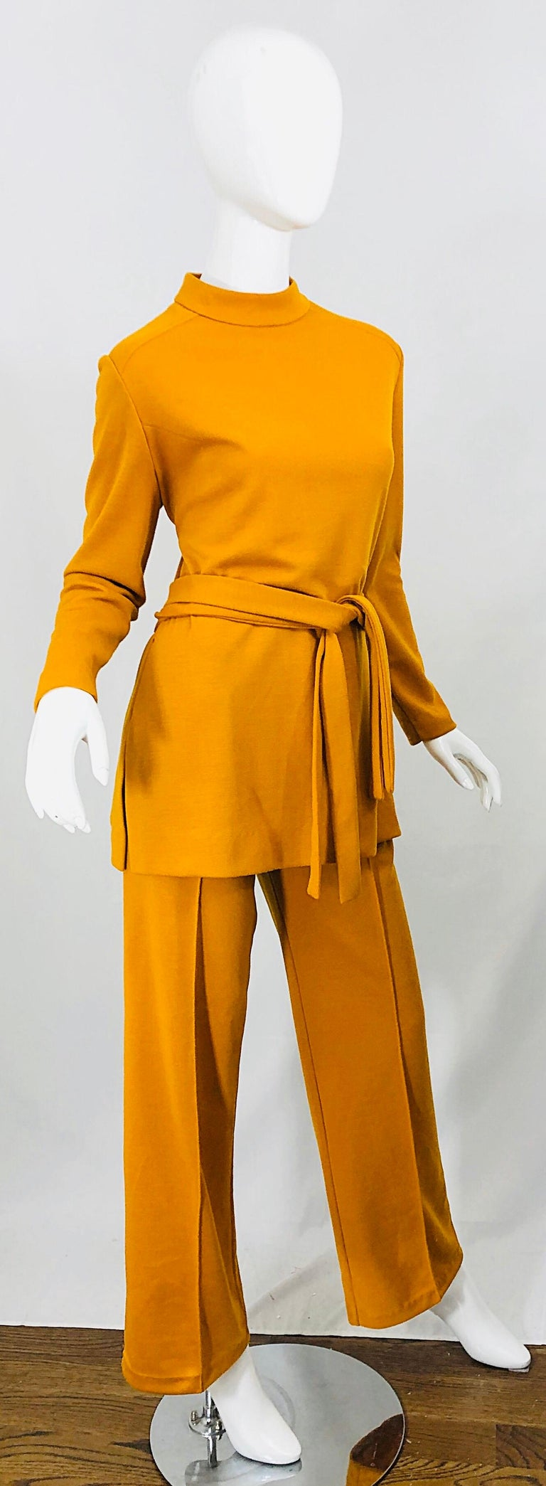 1970s Marigold Mustard Yellow Four Piece Vintage 70s Knit Shirt + Pants + Belt For Sale 4