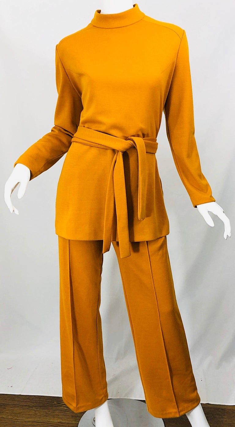 1970s Marigold Mustard Yellow Four Piece Vintage 70s Knit Shirt + Pants + Belt For Sale 5
