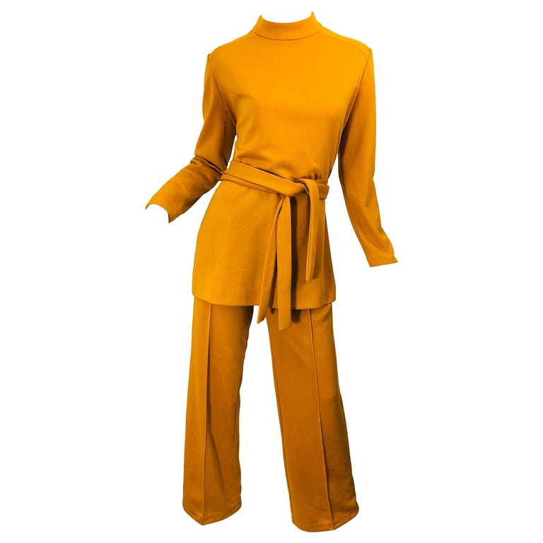 1970s Marigold Mustard Yellow Four Piece Vintage 70s Knit Shirt + Pants + Belt For Sale