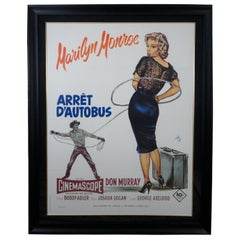 """1970s Marilyn Monroe """"Bus Stop"""" Arret D'Autobus French Movie Poster"""