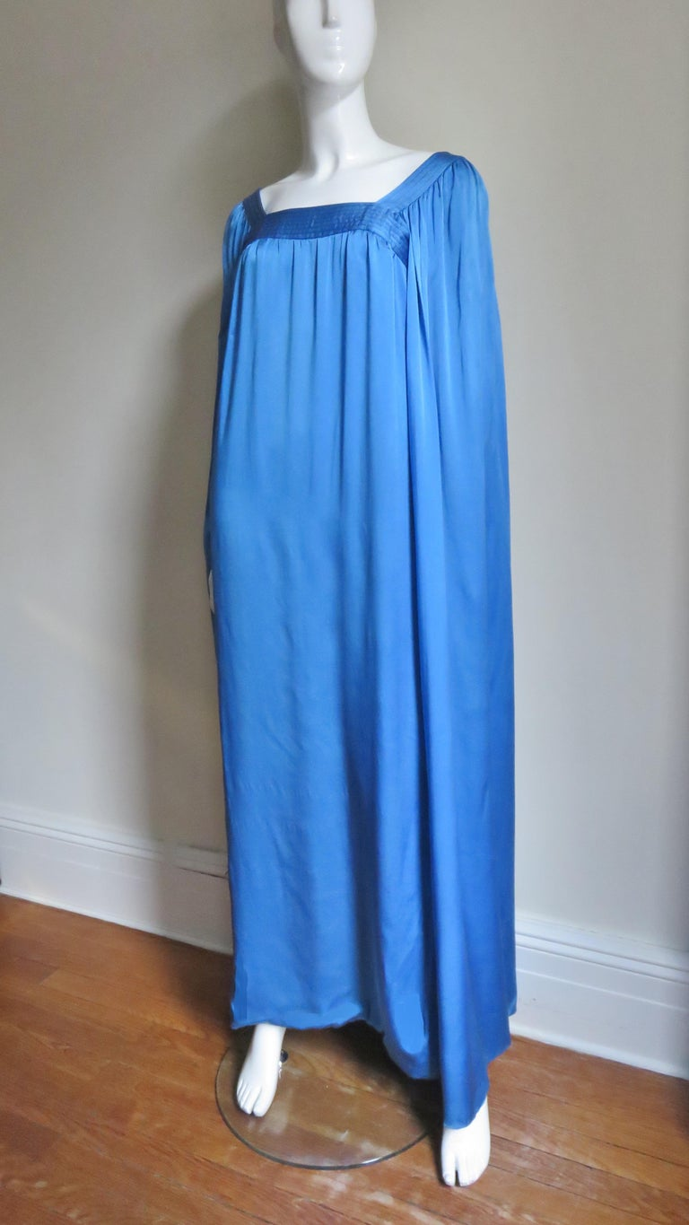 Blue  Mark Bohan for Christian Dior Couture Numbered Gown 1970s For Sale