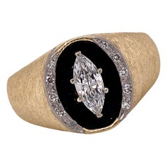1970's Marquise Diamond Black Enamel 14 Karat Brushed Yellow Gold Gents Ring