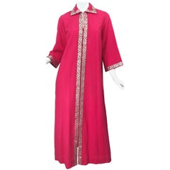 1970s Marshall Fields Raspberry Pink + Gold Vintage 70s Caftan Maxi Dress Kaftan