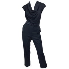 1970s Maryka Monaco Large Black Sequined French Made Belted Vintage 70s Jumpsuit