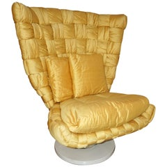 1970s Marzio Cecchi Italian Vintage Iconic Gold Yellow Silk Swivel Armchair
