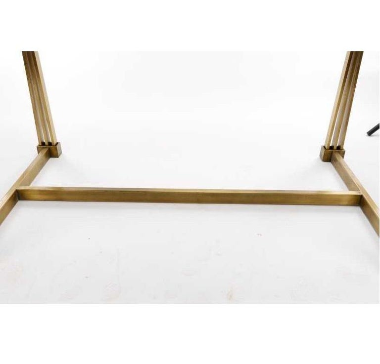 American 1970s Mastercraft Brass and Glass Dining Table For Sale