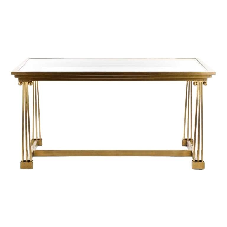 1970s Mastercraft Brass and Glass Dining Table For Sale