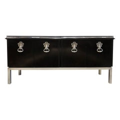 1970s Mastercraft Credenza after Parzinger with Black Glass Top