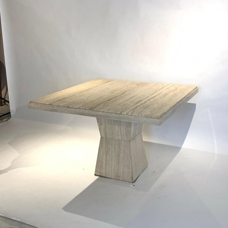 Maurice Villency Square Travertine Dining, Game, or Center Table with Detail In Good Condition For Sale In Hudson, NY