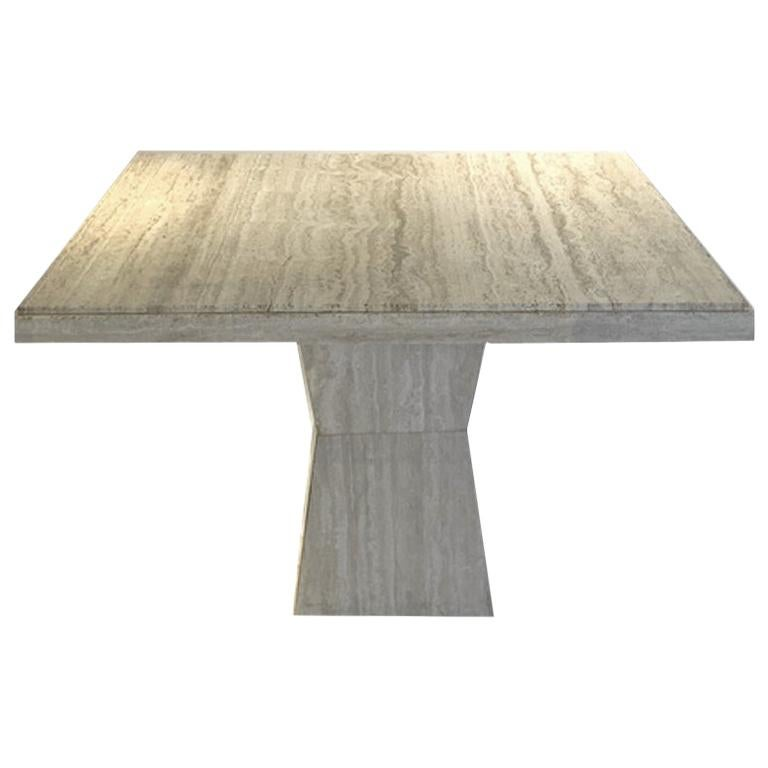 Maurice Villency Square Travertine Dining, Game, or Center Table with Detail For Sale