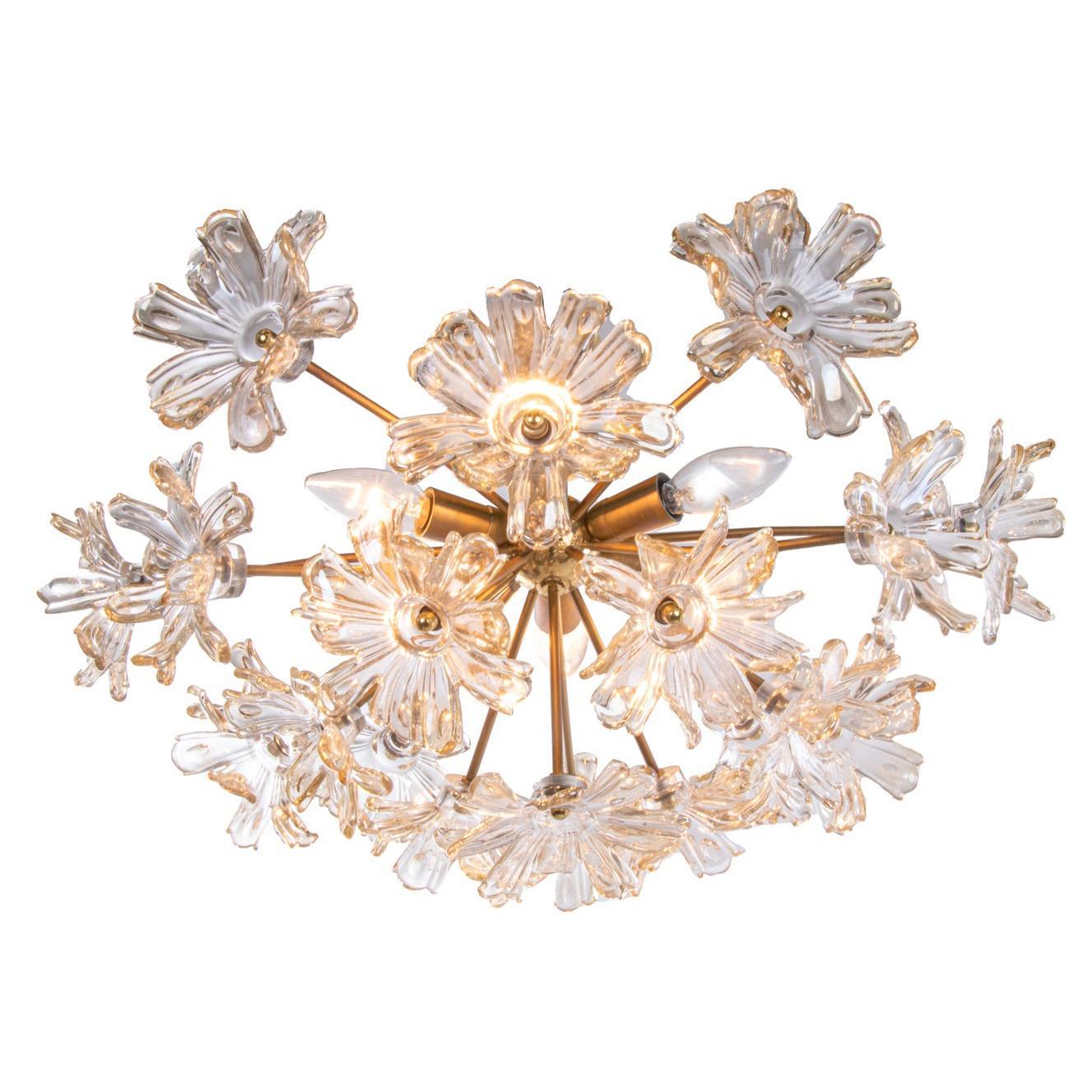 1970s Mazzega Flush Mount Amber Murano Glass Flowers & Brass