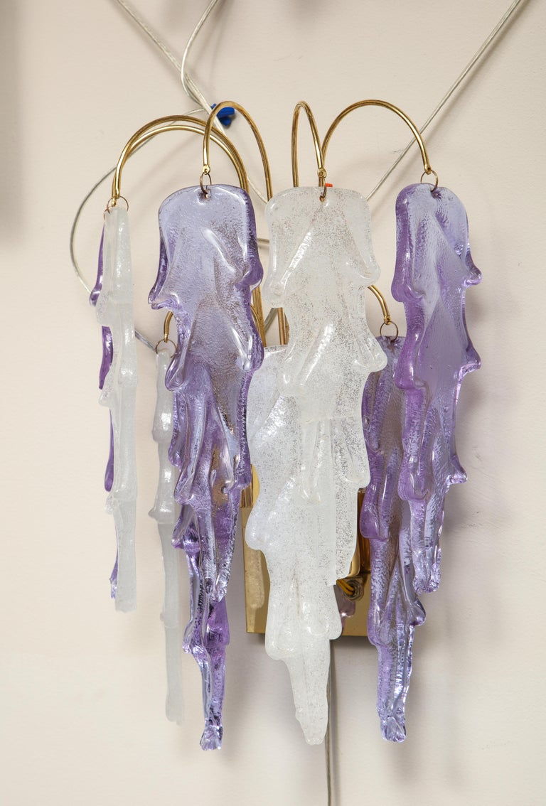 Mid-Century Modern 1970s Mazzega Italian Murano Glass Wall Sconces with Amethyst and Frost Glass For Sale