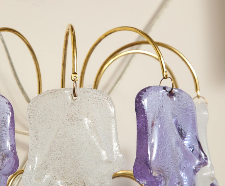 1970s Mazzega Italian Murano Glass Wall Sconces with Amethyst and Frost Glass In Good Condition For Sale In New York, NY
