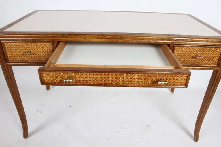 1970s McGuire Furniture Rattan and Caned Desk For Sale 3