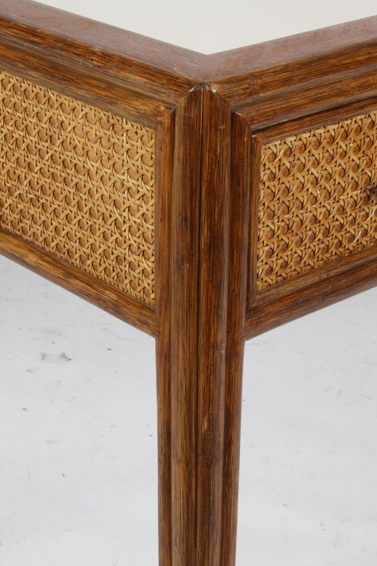 1970s McGuire Furniture Rattan and Caned Desk For Sale 4