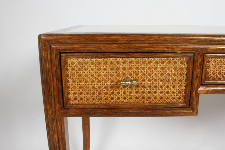 1970s McGuire Furniture Rattan and Caned Desk For Sale 8