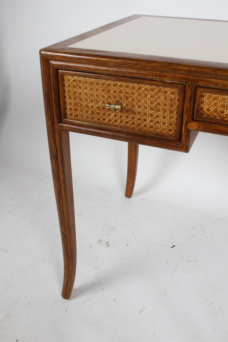 1970s McGuire Furniture Rattan and Caned Desk In Good Condition For Sale In St. Louis, MO