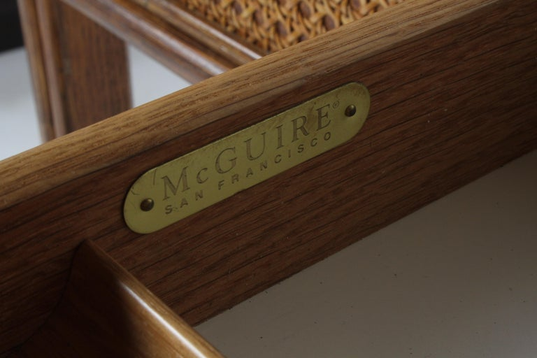 Late 20th Century 1970s McGuire Furniture Rattan and Caned Desk For Sale