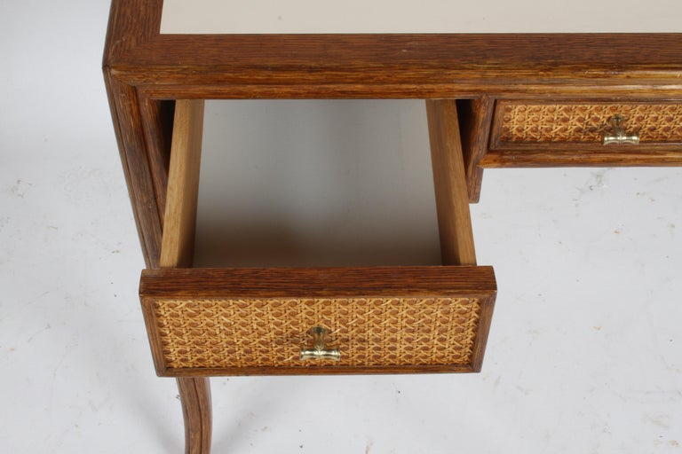 1970s McGuire Furniture Rattan and Caned Desk For Sale 1